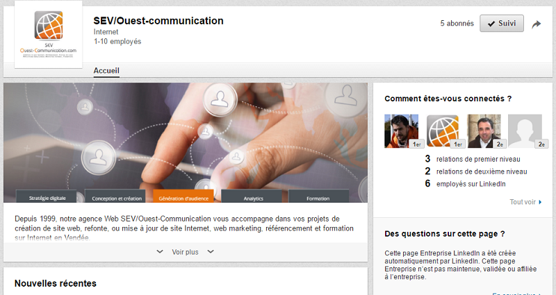 Page LinkedIn SEV/Ouest-com