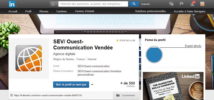 Profil LinkedIn SEV/Ouest-om